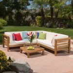 noble house oana teak finish 4 piece wood outdoor sectional set with beige cushions