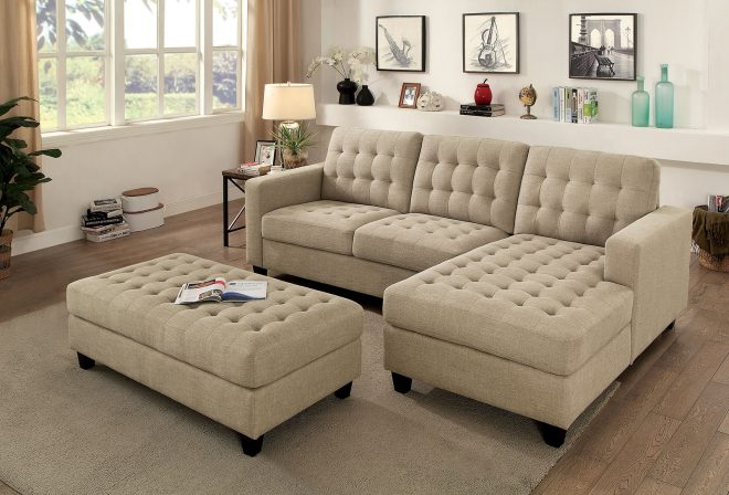 norma transitional style beige chenille fabric sofa sectional w xl ottoman