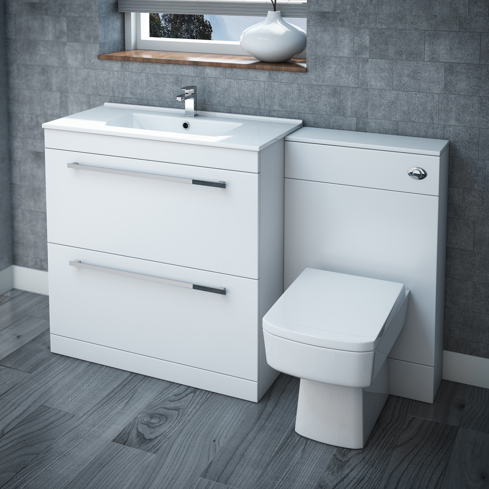 nova high gloss white vanity bathroom suite w1300 x d400200mm at