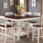 nyla counter height dining table antique white and cherry