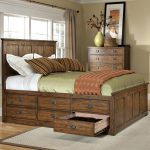oak park queen bed with 9 storage drawers
