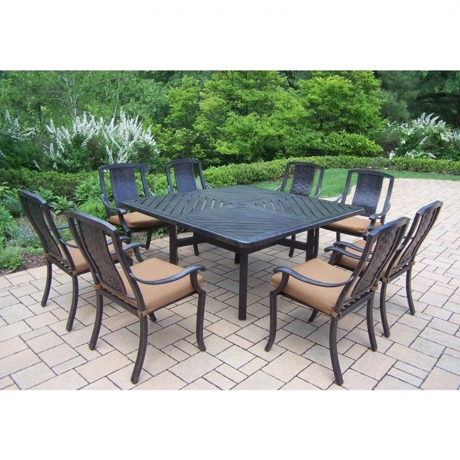 oakland living 9 piece square aluminum patio dining set with sunbrella canvas teak cushions