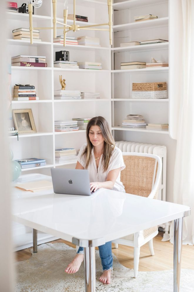 office reveal and 5 reasons to use a dining table as a desk
