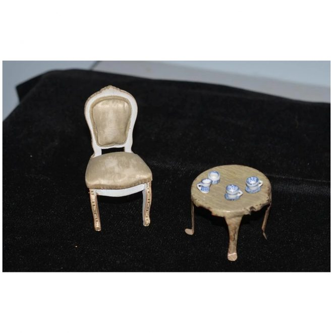 old doll miniature dollhouse upholstered painted chair w metal table with tea set