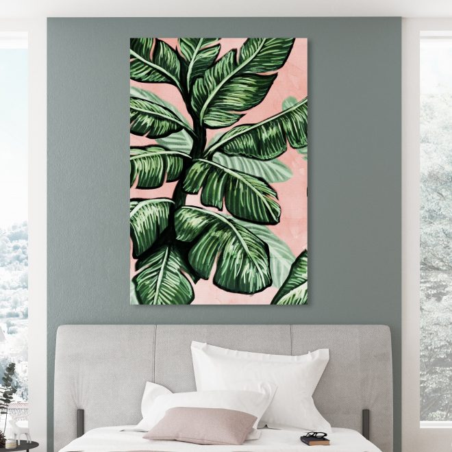oliver gal blush toned leaves floral and botanical wall art canvas print green pink