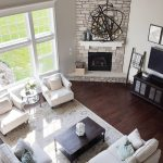 open floor plan corner fireplace different furniture