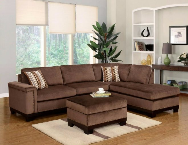 opulence living room furniture 2p sectional sofa brown sofa chaise pillows couch