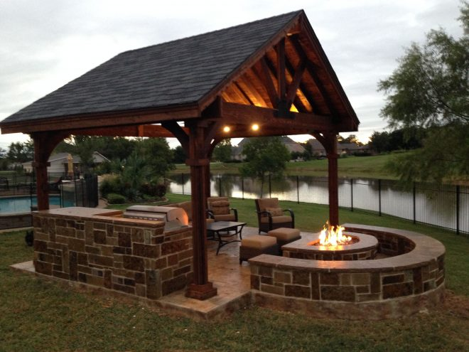 or attached like this outdoor kitchenfire pitseating area