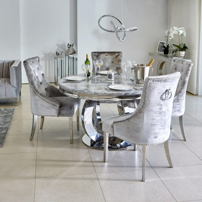 oracle 130cm round grey marble dining table 4 parker grey velvet knocker chairs