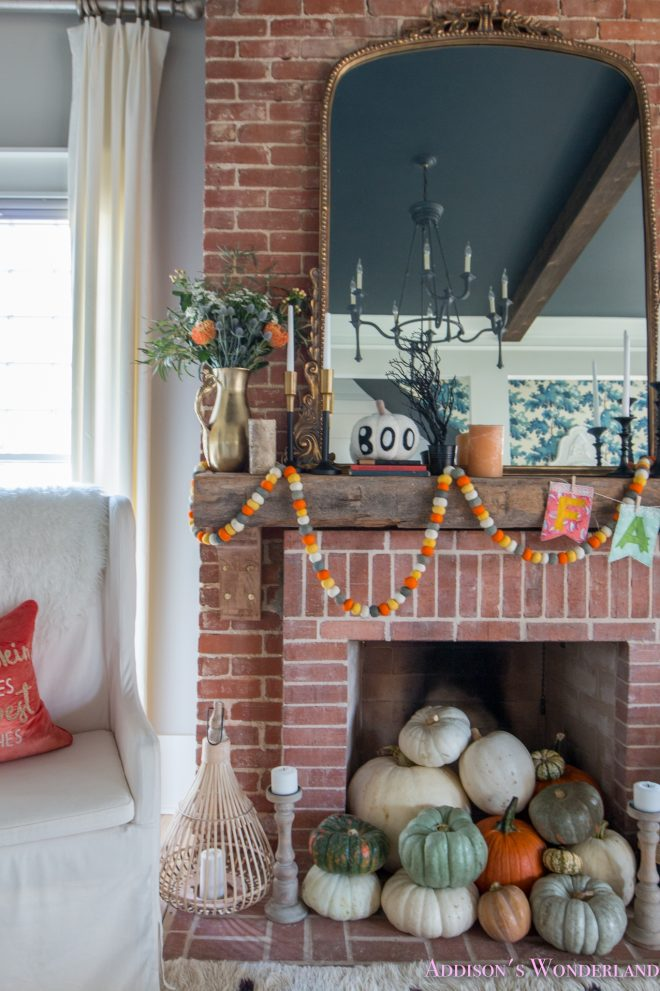our fall halloween living room decor w mantle ideas