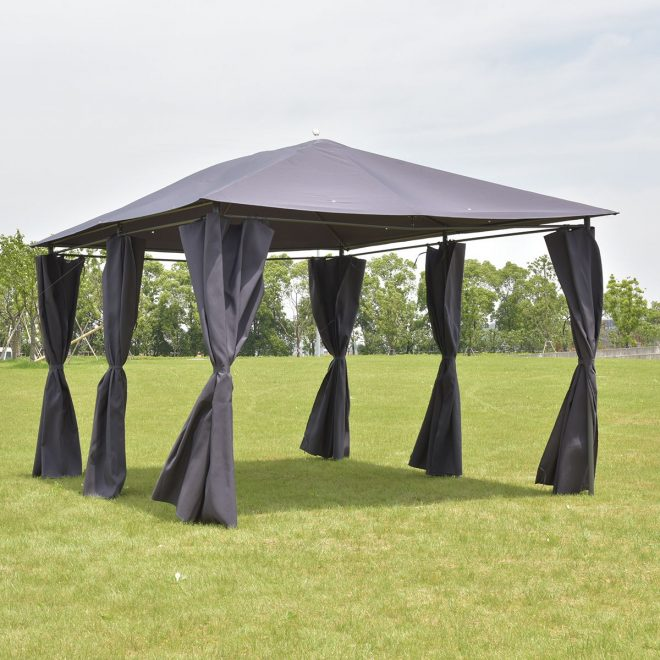 outdoor 10x13 gazebo canopy tent shelter awning steel frame wwalls gray new
