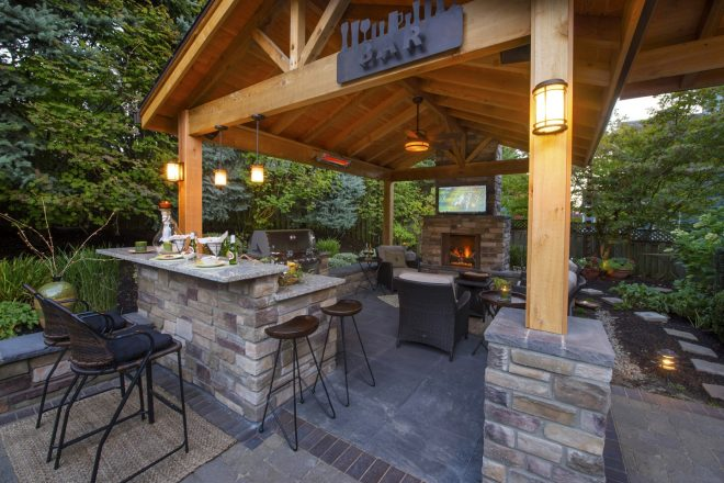 outdoor kitchen bar paradise restored landscaping
