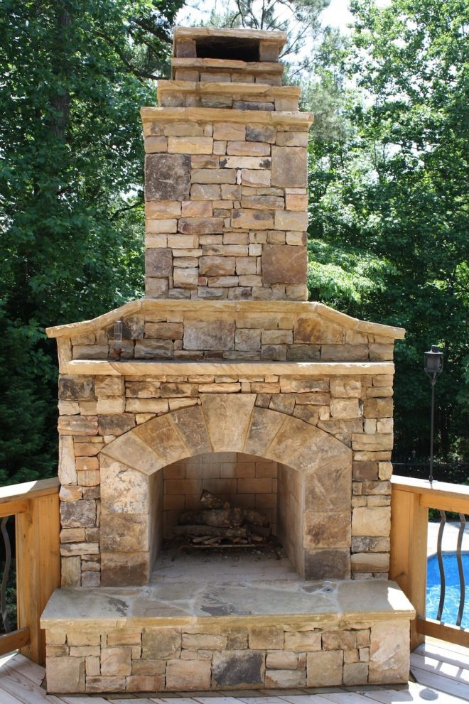 outdoor stone fireplace on wood deck pool heaters pinterest