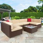 outsunny piece cushioned outdoor rattan wicker sofa