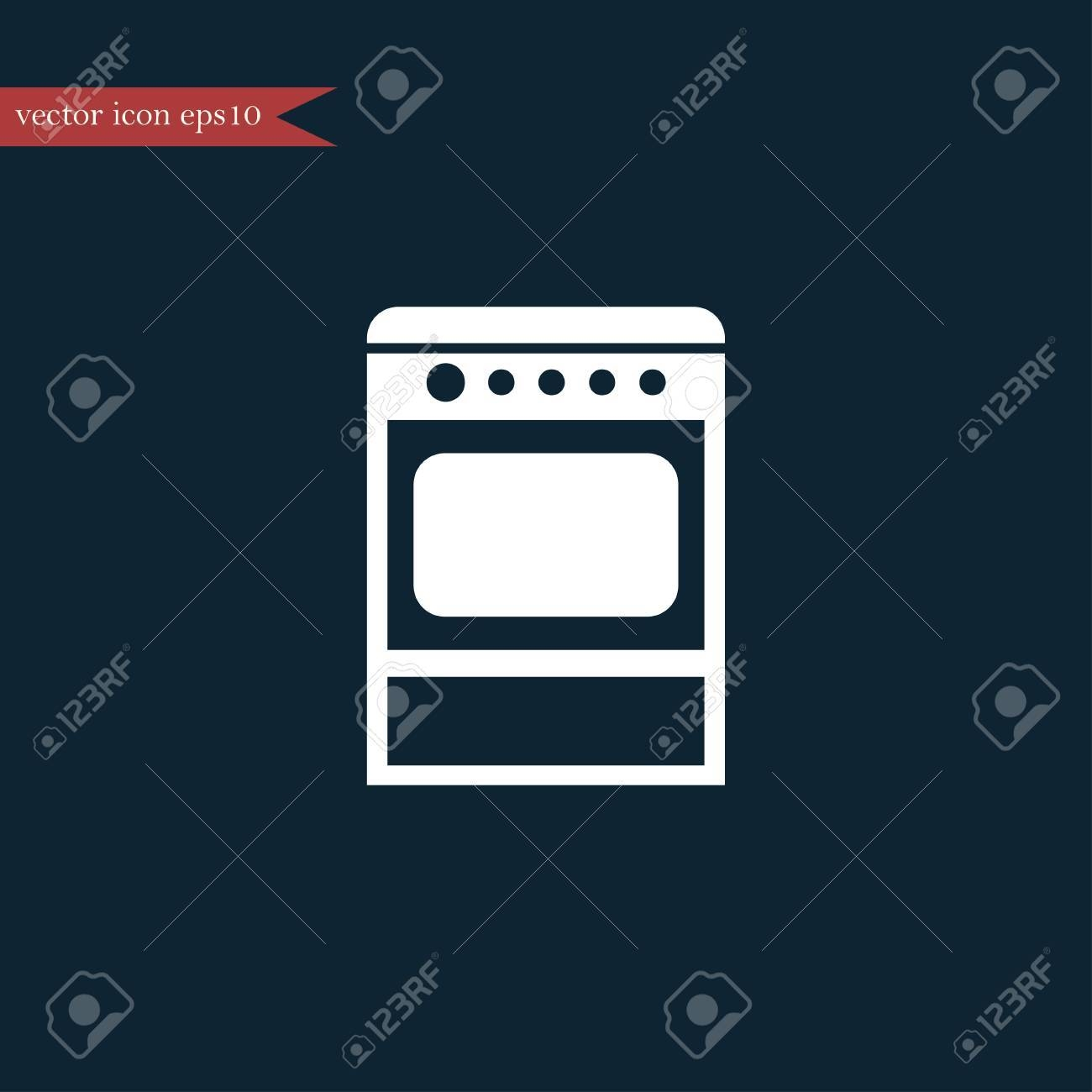 oven icon simple kitchen sign vector furniture illustration