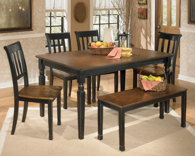 owingsville 6 piece rectangular table set with bench