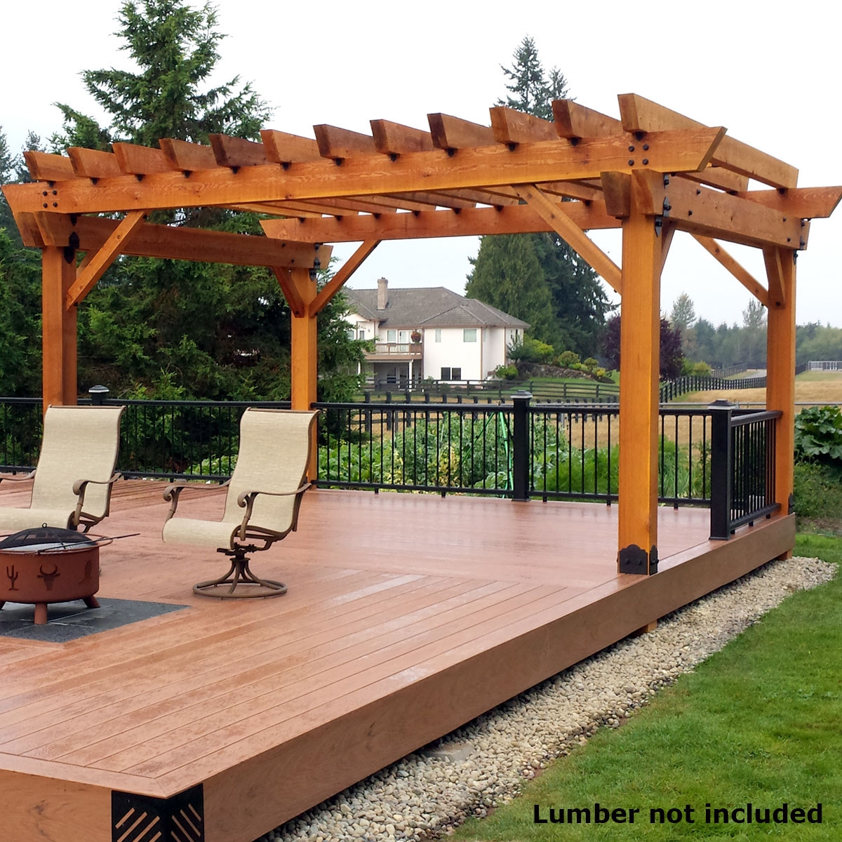 ozco project kit deck pergola with 6x6 posts laredo sunset