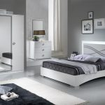 paticial white and light grey gloss full bedroom set with king size bed