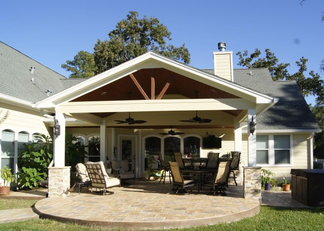 patio cover with stamped concrete magnolia tx back patio