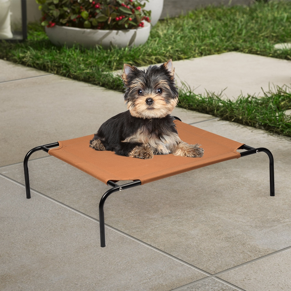 pawhut elevated cooling pet bed portable folding camping cot
