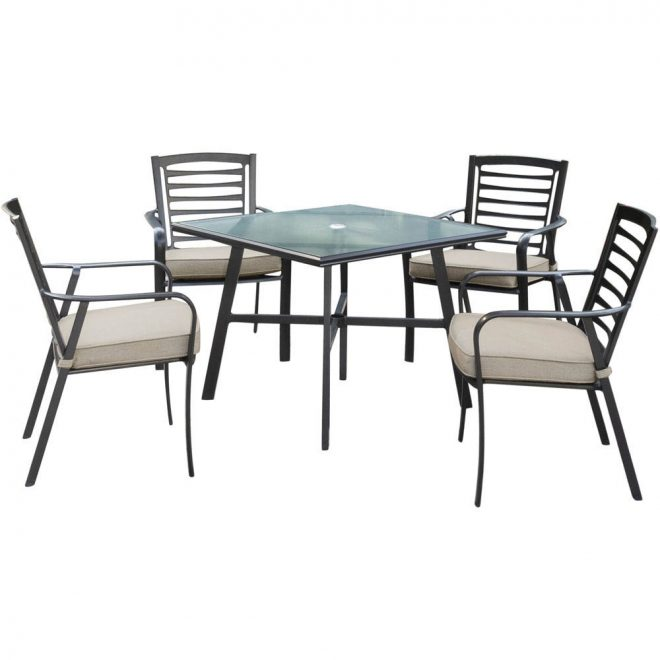 pemberton 5 piece commercial grade patio set with 4 cushioned dining chairs and a 38