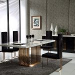 perfect marble top and rose gold base dining table