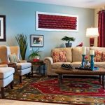 persian rug and maroon curtain for eclectic family room decorating