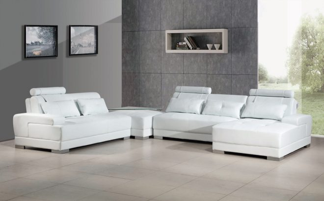 phantom contemporary white leather sectional sofa wottoman