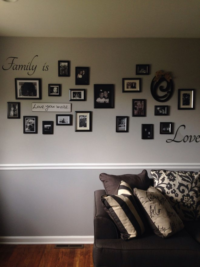 photo collage on two tone gray wall with chair rail future house