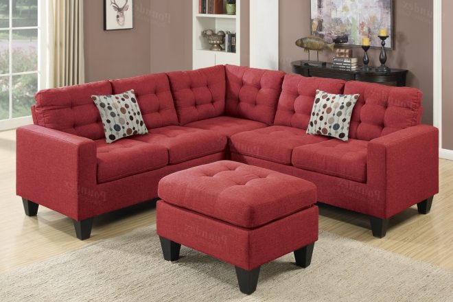 photos of red leather sectional sofas with ottoman showing