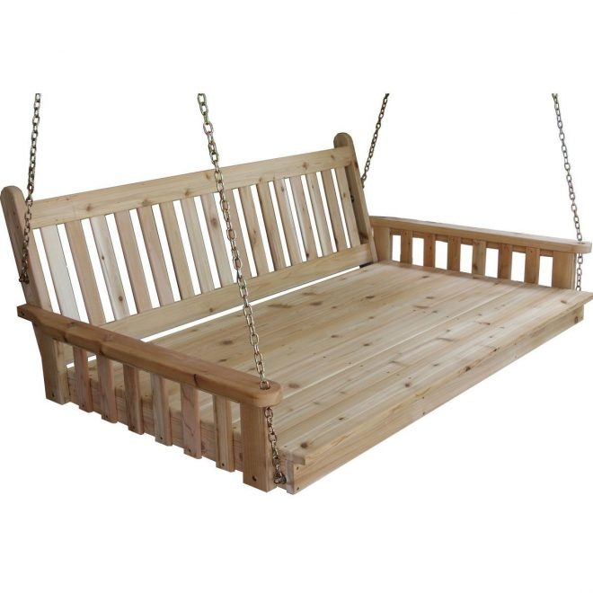 pine traditional english swing bed 6 foot tan porch