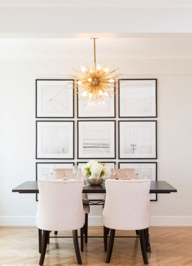 pink gold dining space