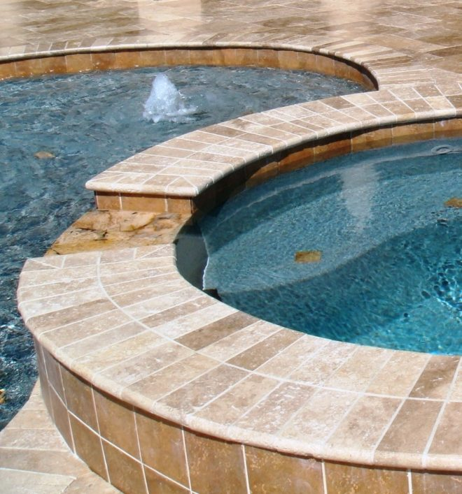 pool coping steps bullnosed stone natural landscape