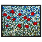 poppies stained glass panel stained glass art mosaic art