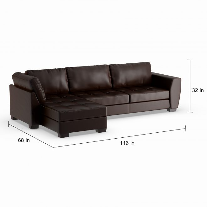 porch den glendale brown leather modern sectional sofa set with left facing chaise