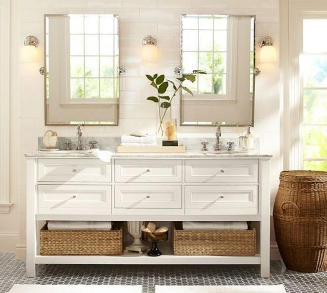 pottery barn bathroom plan with wicker baskets and chic decorative