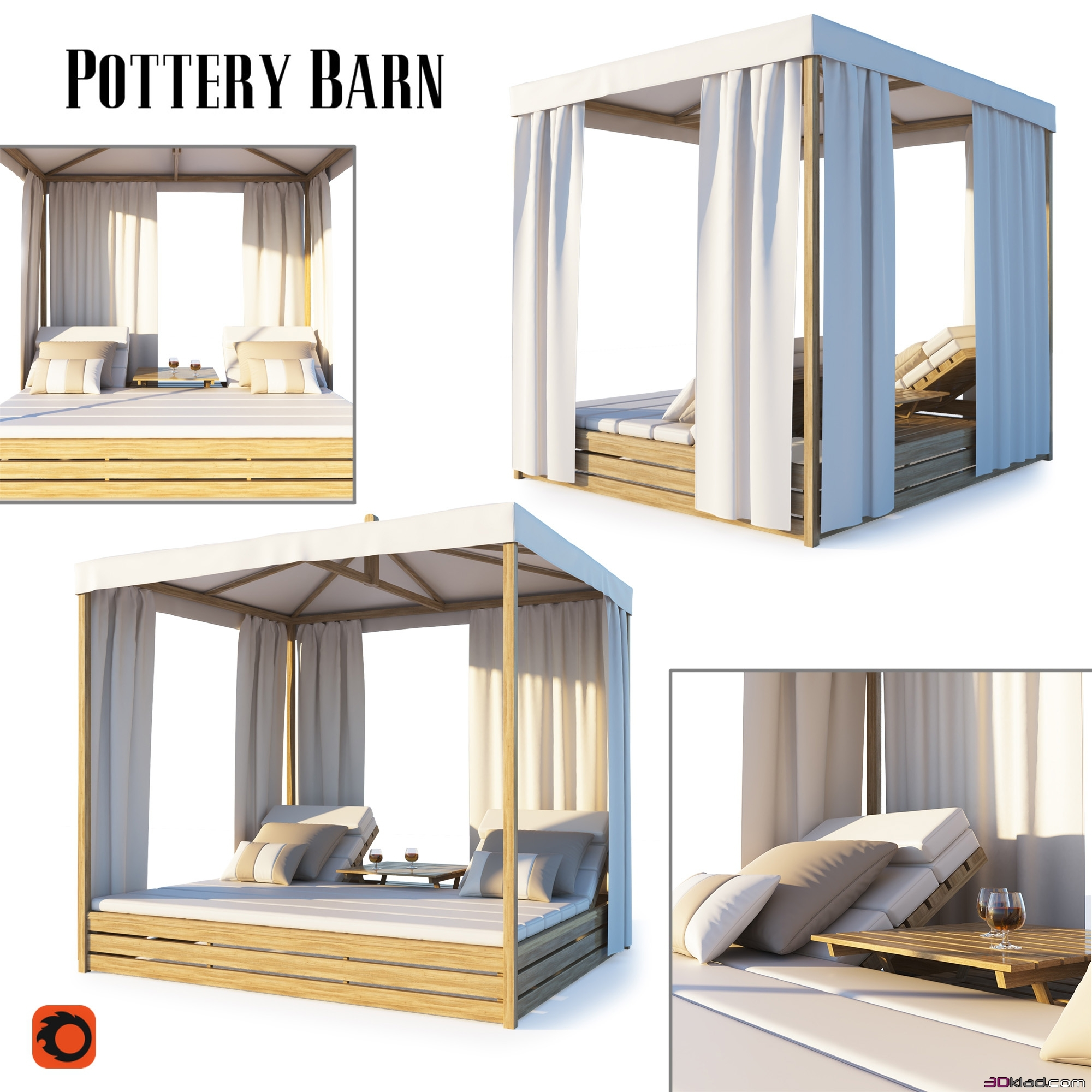 pottery barn madera teak daybed 3d models