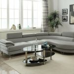 poundex f6984 grey faux leather sectional sofa
