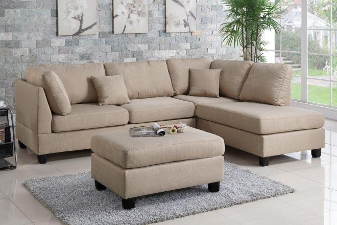 poundex f7605 3 pcs sand fabric reversible chaise sectional sofa set