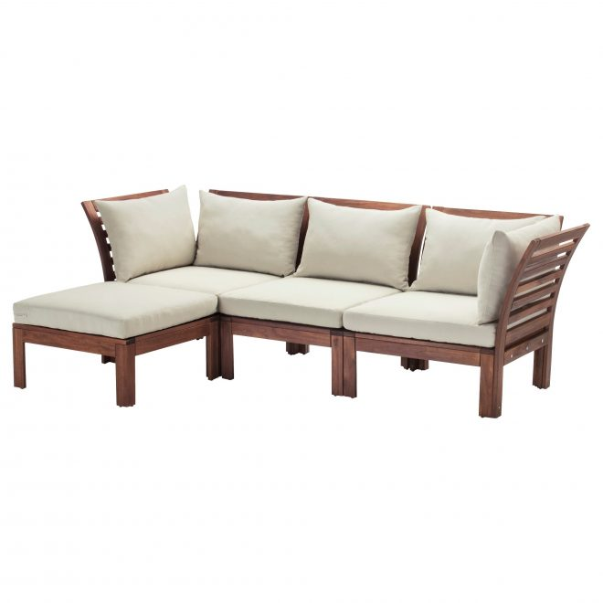 pplar 3 seat modular sofa outdoor with footstool brown stained