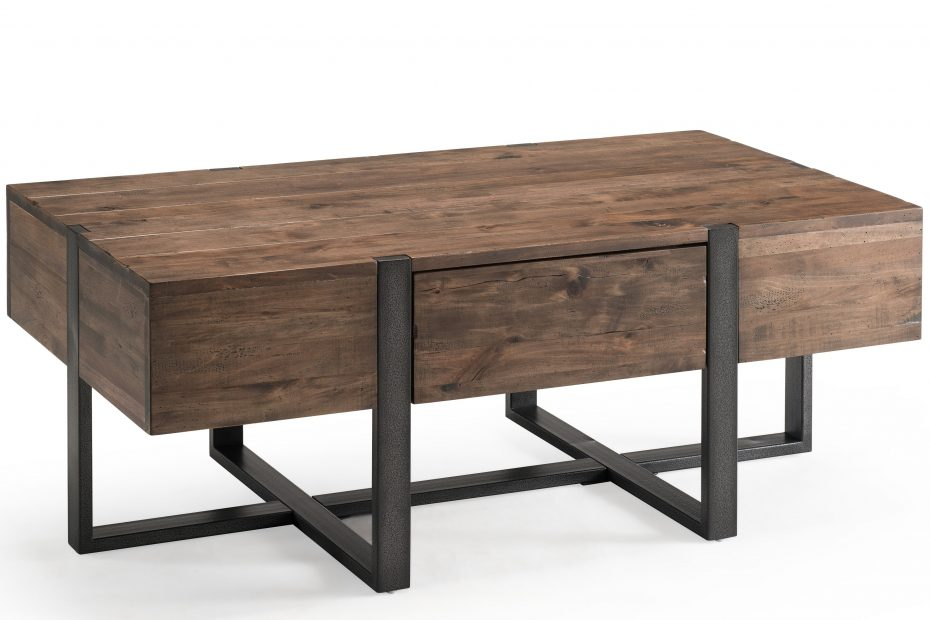 prescott modern reclaimed wood condo coffee table