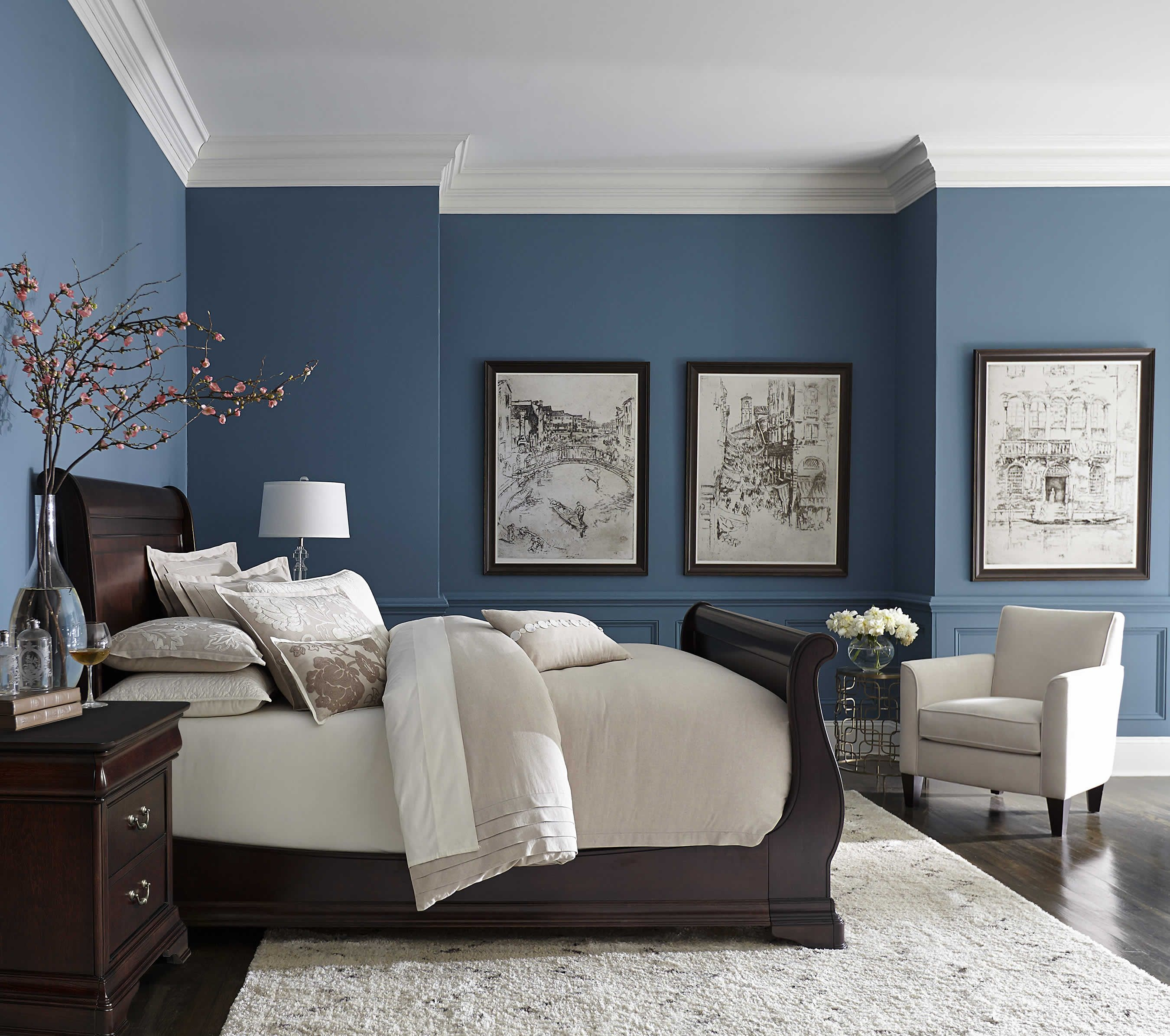pretty blue color with white crown molding bedrooms pinterest