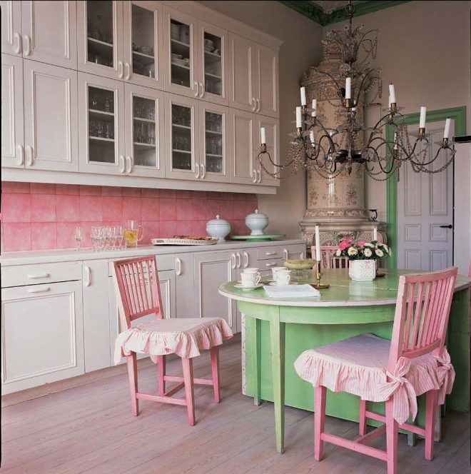 pretty pink backsplash in kitchen love the green and pink