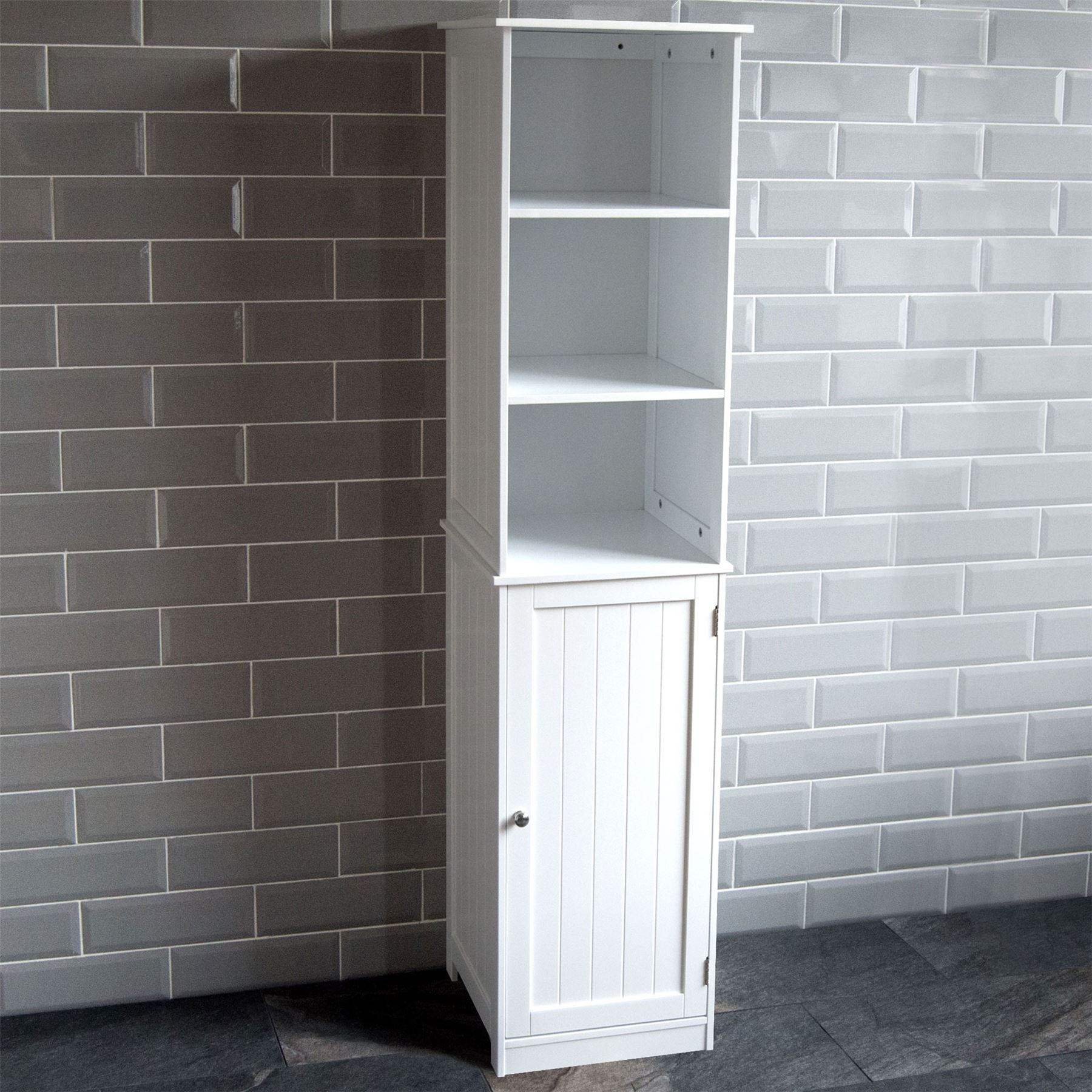 priano bathroom tall cabinet shelving cupboard storage unit