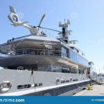 private luxury yacht with helicopter deck editorial photo