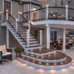 professional building services trex curved deck with lights back