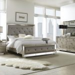 pulaski farrah 4 piece panel bedroom set in metallic