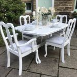 queen anne dining table 4 chairs