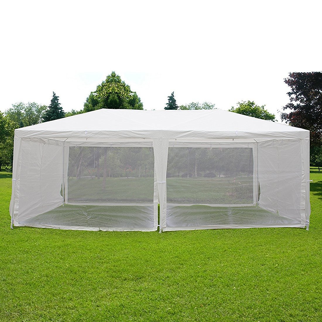 quictent outdoor canopy gazebo party wedding tent screen house sun shade shelter with fully enclosed mesh side wall 10x20 white