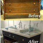 re do of an old dresser into a bathroom vanity painted with chalk